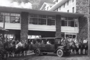 outside troutdale main lobby, circa 1920s